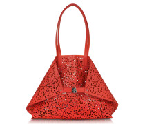 Ai Medium Scarlet/Zinnia Shopper aus Leder und Canvas mit Cut Out