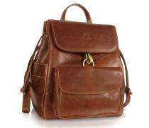 Handgearbeiteter Rucksack aus echtem braunem Leder