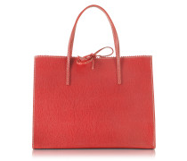 Red Medium Wild Boar Leather Tote
