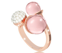 Boulevard Stone Rose Gold Over Bronze Ring w/ Hydrothermal Pink Stones and Cubic Zirconia