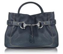 Italienische Handtasche aus echtem Leder in navy blau