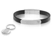 Heritage Black Leather Bracelet and Silvertone Key Ring Set