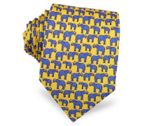 Elephants Print Silk Tie