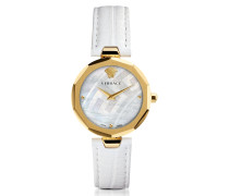 Idyia Decagonal White Women's Watch w/Greek Engraving