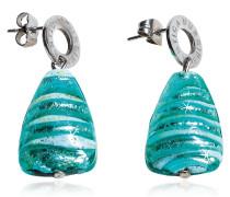 Marina 2 - Ohrringe aus Muranoglas und silbernen Blättchen