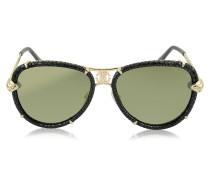 Mebsuta 885S Piloten-Sonnenbrille aus Leder und goldfarbenem Metall