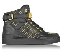 High Top Sneaker aus Leder mit goldfarbenen Nieten