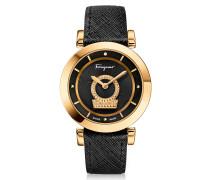 Minuetto Gold IP Damenuhr aus Edelstahl mit Armband aus Saffianleder in schwarz  mit Guilloche' Zifferblatt in schwarz