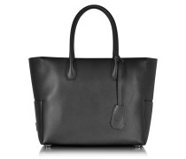 Munich Black Leather Medium Shopper