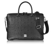 Ottomar Black Monogram Leather Medium Briefcase