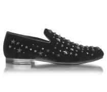 Sloane Loafer aus Samt in schwarz mit Sternen und Kristallen