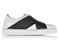 Slip On Sneaker aus weißem Leder mit elastischem Band