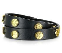 Wickelarmband aus Leder mit Logo-Nieten