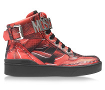 Red Leather High Top Sneaker