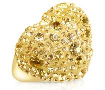 Herzring mit Swarovskisteinen in gold
