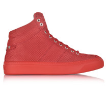 Belgravi Deep Red Point Embossed Nubuck High Top Sneakers w/Stars