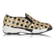Sneaker aus Stoff mit Pailletten in gold und schwarz