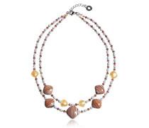 Millerighe 2 Double - Halskettte in Pastelltönen mit Streifen und Blattgold