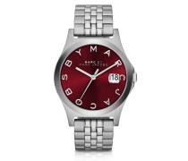 The Slim Damen-Armbanduhr aus Edelstahl mit Zifferblatt in bordeaux