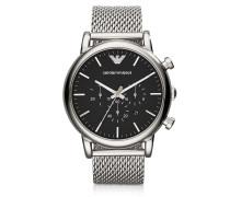 Klassische Armbanduhr aus Edelstahl mit Chronograph in schwarz