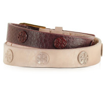 Clay Pink/Port Color-Block Double Wrap Armband mit Nieten
