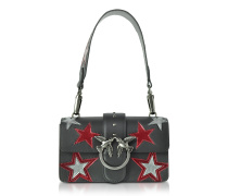 Mini Love Stars Black Leather Shoulder Bag