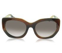 BA0017 47T Cat Eye Sonnenbrille aus Acetat in braun
