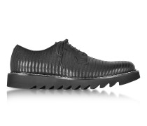 Black Quilted Leather Lace up Shoes