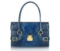 Handtasche aus italienischem Leder mit Krokoprägung in Indigoblau