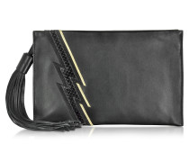 Evening Lightning Clutch aus Patchwork Leder in schwarz