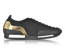 Maya Black Quilted Neoprene and Gold Metallic Leather Sneaker