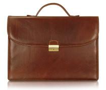 Herren-Aktentasche aus handgearbeitetem braunem Leder
