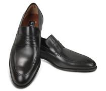Penny Loafer Schuhe aus schwarzem Leder