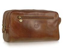 Reise-Kulturtasche aus echtem italienischem Leder in braun