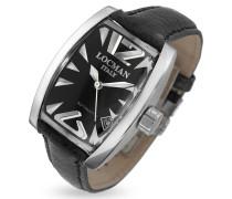 Panorama - Automatische Herrenuhr mit straussenledergeprägtem Armband in schwarz