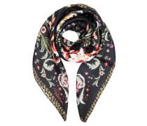 Halstuch aus schwarzer Seide mit Blumenprint