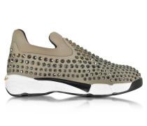 Gem Turbine Sneaker aus Neopren in taupe mit Kristallen