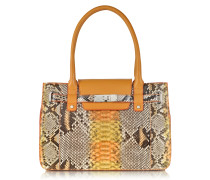 Orange and Yellow Python and Leather Large Satchel