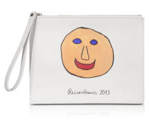Gugging Smile Art White Leather Clutch