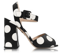 Emma Black Polka Dot Print Leather Sandal