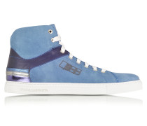 D Plus B High Top Sneaker aus Wildleder in kobaltblau