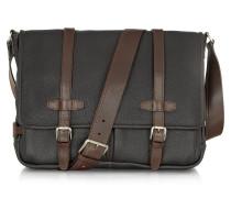Messenger-Tasche aus Leder in schwarz und braun