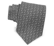 Moschino Signature Krawatte aus bedruckter Seide in schwarz & grau