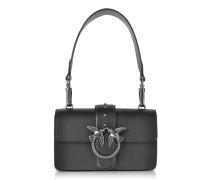 Mini Love Schultertasche aus mattem Leder in schwarz