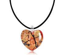 Passione - Herzanhänger aus Muranoglas in Rot/Gold/Schwarz