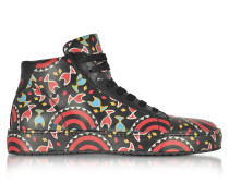 Multicolor Printed Leather High Top Men's Sneakers