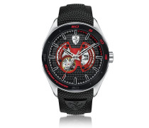 Gran Premio Silver Tone Stainless Steel Case and Black Silicone Strap Men's Watch