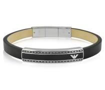 Herren-Armbanduhr aus Edelstahl in schwarz mit Logo