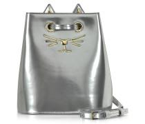 Feline Bucket Handtasche aus metallischem Leder in silber