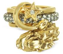 Circus Golden Ring aus Metall mit Kristallen